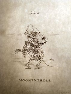 Moomintroll Skeleton Print 8x10 by mpaulus on Etsy, $18.00