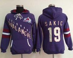 Colorado Avalanche #19 Joe Sakic Purple Women's Old Time Heidi NHL Hoodie Wholesale Jerseys For Cheap Sale