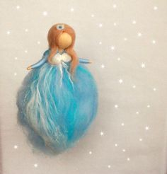 Needle Felted Angel Guardian AngelBlue Fairy by CloudBerryCrafts Wool Felting, Needle Felting, Gift Tree, Felt Angel, Natural Play, Felt Fairy, Blue Fairy, Flower Fairies, Baby Boy Gifts