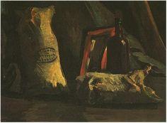 Naturaleza muerta con dos sacos y una botella  Vincent van Gogh Pinturas, Óleo sobre tela sobre hoja Nuenen: noviembre, 1884 Colección privada F: 55, JH: 532
