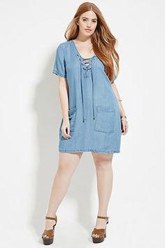 Plus Size Lace-Up Denim Dress | Forever 21 PLUS - 2000146164