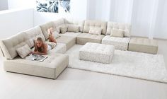 Alice Modular Fabric Sofa Cream Extra Large Corner Sofa with Chaise in cream as pictured (4A + C + 2D + F)