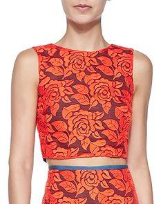 Nicole Miller Artelier Sleeveless Floral Lace Crop Top, Women's, Size: M, Orange