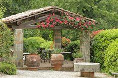 Solid stone and wood pavilion gazebo