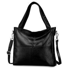 S-ZONE Women's Genuine Leather Tote Handbag Shoulder Bag Crossbody Ladies Purse(Black) $79.99 #Black #Handbags