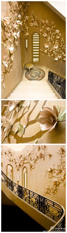 Paper flower installation created by Jo Lynn Alcorn for Maya Romanoff Wallpapers at Kips Bay Decorator Show House 2009. Jo Lynn Alcorn