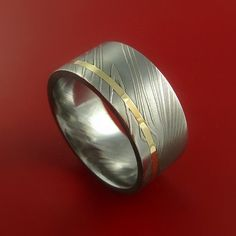 Damascus Steel 14K Yellow Gold Wide Ring by StonebrookJewelry