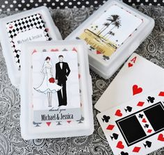 Personalized decks of cards for wedding guests | New Wedding Favour Ideas That Will Definitely Impress Your Guests via @weddingbellsmag
