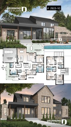 Modern farmhouse plan, 4 bedrooms, 3.5 baths, master suite on main floor, large terrace, pantry, fireplace, panoramic view for lakefront lot