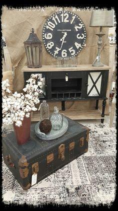Farmhouse decor #console #oldtrunk #cotton #furniture #glassbottles