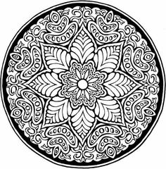 Difficult Mandala Coloring Pages | flower mandala, courtesy of Dover Books