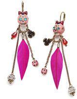 Betsey Johnson-betsey johnson earrings rose skull feather linear earrings
