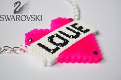 love banner heart perler bead necklace