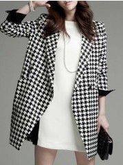 Ladylike  Houndstooth Lapel With Pockets  Overcoats