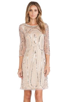 Raga Long Sleeve Sequin Dress in Gold