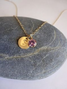 October Birthstone Necklace with Initial Disc by ShebasGems
