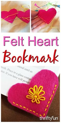 Felt page corner bookmarks are fun and easy to make for your own use or to give as gifts. This is a guide about making a felt heart bookmark.