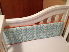 Gender neutral baby nursery geometric aqua, white, orange crib bumper DIY 4/19/14