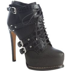 Christian Dior Black Leather 'Guetre' Buckle Detail Platform Ankle Booties, found on polyvore.com