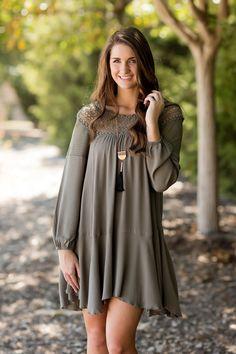 Fall Fashion, Fall Dress, Crochet Dress, Boho Chic Dress, Bohemian Dress, Olive Dress, OOTD- Free Spirit Dress-Olive by Jane Divine Boutique www.janedivine.com
