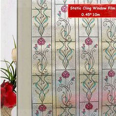 Cheap Frosted Glass Window Film estático Cling privacidad puerta de la cocina Stickers decorativos para el hogar rosa roja flor Floral pared de papel 0.45 * 10 m, Compro Calidad   directamente de los surtidores de China: 2014 Top Fasion New Desktop Wallpaper Home Decorated with Gold Leaf Wallpaper Tv Wall Stickers Living Room Bedroom 53 *
