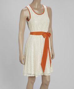 Cream & Orange Open-Back Sleeveless Dress #zulily #zulilyfinds