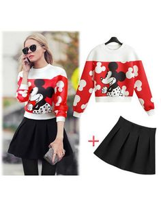 Online Shop 2014 spring autumn new women 2 piece crop top and skirt set Mickey mouse pullover sweater tops and Pleated skirt suits clothing Suit Fashion, Fashion Outfits, Disney Fashion, Mickey Mouse Outfit, Minnie Mouse, Suits For Women, Clothes For Women, Pullover Sweaters, Sweatshirt