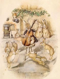 Later, the scene was changed to a rabbit playing the cello, surrounded by five dancing rabbits and two rabbits, nuzzle each other - The Rabbits' Christmas Party