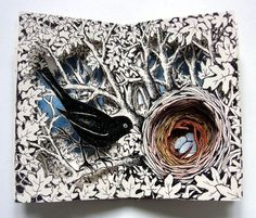 Nest Altered Book, via Alexi Francis Illustrations Folded Book Art, Book Folding, Tunnel Book, Book Sculpture, Paper Sculptures, Altered Book Art, Book Projects, Clay Projects, Kirigami