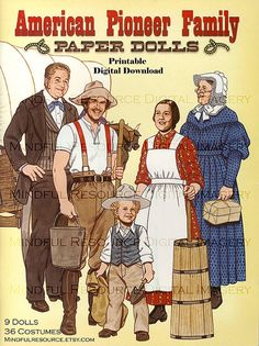 Pioneer Paper Doll Family  Vintage Fashion American Culture 9 Dolls 36 Costumes Digital Download Printable Sheets