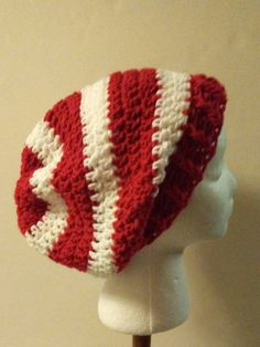 2df5b30569f Red and White Striped Crochet Slouchy Beanie