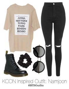 """Inspired Outfit for KCON: Namjoon"" by btsoutfits ❤ liked on Polyvore featuring Topshop, Dr. Martens and Miss Selfridge"