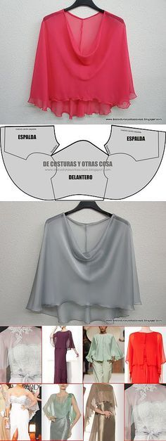 Espalda When you wanna hide your beautiful boobs but with a classy way/шьем блузу / Diy Clothing, Sewing Clothes, Clothing Patterns, Dress Patterns, Sewing Patterns, T Shirt Yarn, T Shirt Diy, Fashion Sewing, Diy Fashion