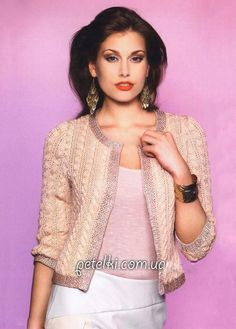 Knitting in the style of Coco Chanel.  Elegant jacket.  Description scheme, pattern