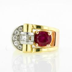Retro Burmese Ruby and Diamond Ring set in yellow gold, rose gold, and platinum