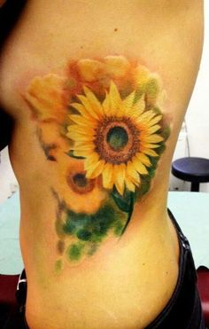 fantastic side sunflower watercolor tattoo - flowers, leaves, realistic