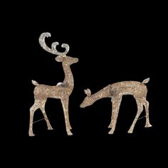 Home Accents Holiday 48 in. LED Lighted Gold Glitter PVC Deer and 27 in. LED Lighted Gold Glitter PVC Doe-TY223+218-1611 - The Home Depot $49 each