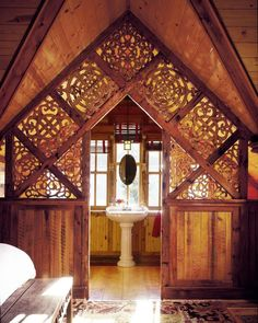 hand-carved lattice woodwork