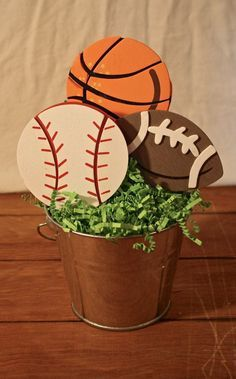 Can make these fit centerpieces on the tables with balloons--Sports centerpiece, sports birthday party, boy birthday Sports Centerpieces, Birthday Party Centerpieces, Baby Shower Centerpieces, Baby Shower Decorations, Ball Decorations, Baseball Centerpiece, Centerpiece Ideas, Sports Themed Birthday Party, Baby Boy Birthday
