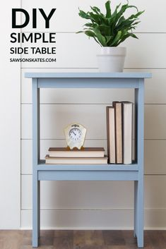 This DIY side table is an EASY project and a smart choice for any room that needs a little extra storage. Perfect for a bedroom, living room, family room, or even outdoors. Download the free plans now! #sawsonskates