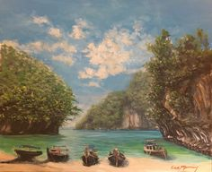 Thailand Islands Acrylic on Cotton by Fantasy Landscape, Landscape Art, Fantasy Art, Bookcase Stairs, Environment Concept Art, Pretty Wallpapers, Animals Of The World, Traditional Art, Beautiful Landscapes
