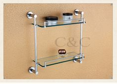 160.34$  Buy here - http://aliahp.worldwells.pw/go.php?t=1915370184 - Noble And Elegant Solid Brass And Glass Chrome Plating Bathroom Double Towel Rack Holder 1914 160.34$