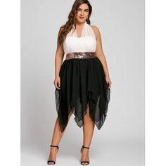 Sequins Empire Waisted Plus Size Handkerchief Dress - BLACK 3XL Elegant Party  Dresses 9d6bf5d785ec