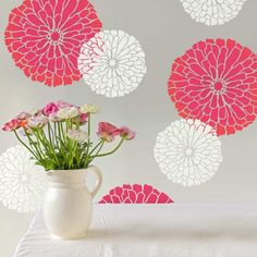 Summer Blossom Wall Stencil – Floral Stencils for Walls – Flower Stencil Designs – Reusable Stencil for Painting Walls – Try Stencil Instead of Wallpaper and Save Lots on Room Makeover (Small) Stencil Wall Art, Floral Wall Stencil, Stencils Wall, Flower Wall, Wall Painting, Floral Wall, Flower Wall Art, Next Wall Art, Floral Stencil