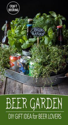 Beer garden gift idea. DIY gift for beer lovers. Beer decor option too (perhaps a beer centerpiece?) #beergarden #biergarten #beergift #beerlovergiftidea #herbgarden #fathersday #mothersday