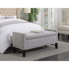 Chic Home Frederick Linen Modern Button Tufted with Silver Nailheads Storage Bench (50.00x19.69x22.05, Light grey), Black (Foam)