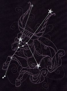 созвездие бык гороскоп вышивка / Ecliptic Constellations 1 Square Embroidered Quilt by remimartin