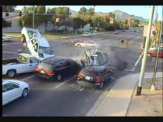 Amazing Car Crash At Intersection-  See what happens when you run thru a red light at the intersection!