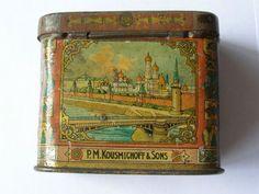 Antique 19th Century Imperial Russian tin tea caddy box.