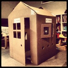 Cardboard box house ready to decorate with the boys Cardboard Box Houses, Cardboard Playhouse, Cardboard Crafts, Play Beds, Kid Beds, Projects For Kids, Crafts For Kids, Childrens Playhouse, Box Building